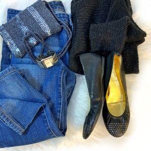 J. Crew Cece Black Ballerina Leather Flats